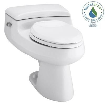 Glacier Bay 1 Piece 1 1 Gpf 1 6 Gpf High Efficiency Dual Flush Elongated All In One Toilet In White N2420 The Home Depot One Piece Toilets Elongated Toilet Seat Toilet