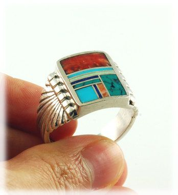 Multi Color Inlay Silver Saddle Ring In 2020 Silver Silver Man