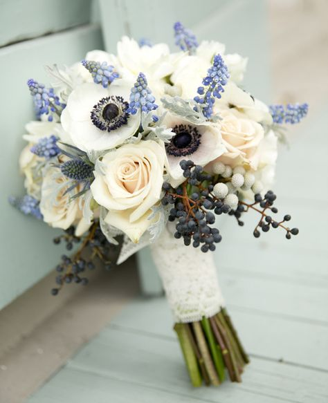 Hyacinth, Blueberry and Anemone Wedding Bouquet  