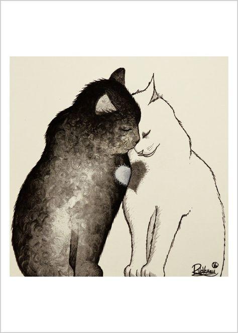 Deux chats un coeur par RaphaelVavasseur sur Etsy