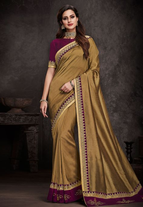 415e50cc46 Buy Golden Silk Saree With Embroidered Blouse 153871 with blouse online at  lowest price from vast collection of sarees at Indianclothstore.com.