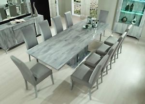 Alexa Grey Marble Effect Italian 180cm Extending Dining Table