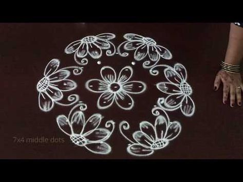 Very Simple Easy Flower Kolam Designs With 7 To 4 Middle Dots Easy Muggulu Rangoli You Simple Rangoli Border Designs Simple Flower Design Rangoli Designs