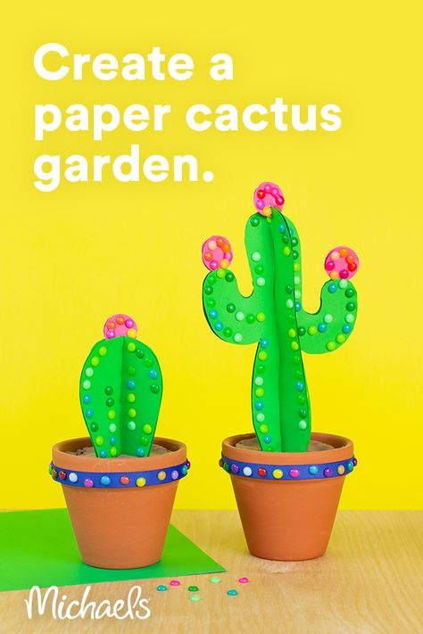 This project is intended for children age 6+. Did you know you can melt Perler® beads in the oven to make bright dots? An adult can do the melting then use them to embellish your paper cactus garden!