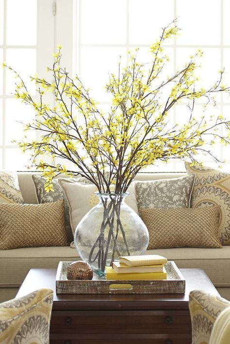 Organic & a simple way to add texture to any room in your home. I use natural branches from my yard. A budding forsythia is an early sign that winter is over, but you can make it feel like spring anytime with Pier 1's brightly blooming Artificial Forsythia Branch.