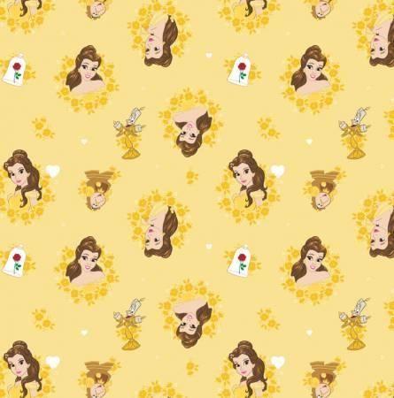 Camelot Fabrics Gold Disney Belle in Wreaths
