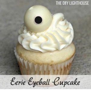 Eerie Eyeball Cupcake... 7 Halloween Cupcake Ideas - The DIY Lighthouse. Halloween treat and dessert ideas #halloweencakes