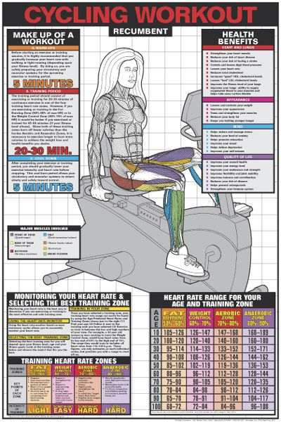 Cycling Workout Recumbent Bike Fitness Gym Poster Wall Chart