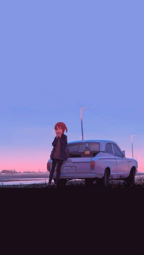 Girl With Car Anime Iphone Wallpaper Menininhas Fofas Papel De