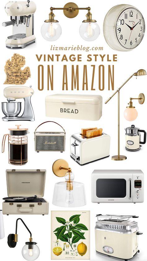 vintage kitchen Vintage Inspired Kitchen Finds on - vintage Vintage Regal, Diy Vintage, Vintage Style, Vintage Fashion, Amazon Home Decor, Diy Home Decor, Affordable Home Decor, Home Decor Items, Vintage Oven
