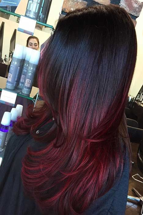 60 Best Ombre Hair Color Ideas For Blond Brown Red And Black Hair Dark Red Hair Color Ombre Hair Ombre Hair Color