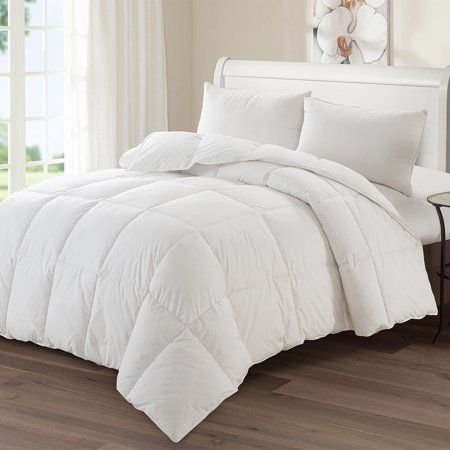 Luxury Goose Down Polyester Medium Warmth Comforter Queen