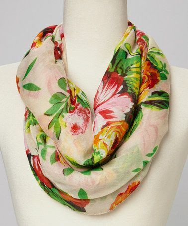 Love this Peach Floral Infinity Scarf on #zulily! #zulilyfinds