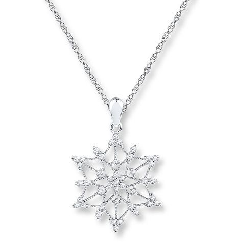 Snowflake Necklace 1 2 Ct Tw Diamonds 10k White Gold 799 Liked On Polyvore Featuring Jewelry Necklaces White Gold Necklace Diamond Gold Snowflake Necklace