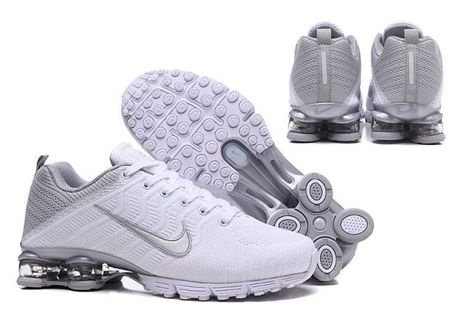 low priced 8af97 c3ddc Nike Air Shox Flyknit White Silver Shox R4 Men s Athletic Running Shoes