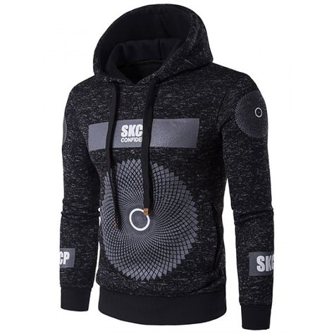 25.32$  Buy here - http://dikuo.justgood.pw/go.php?t=200383810 - Graphic and Geometric Print Drawstring Cotton Blends Hoodie 25.32$