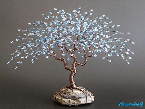 Escultura de alambre azul árbol Bonsai abalorios 7.5