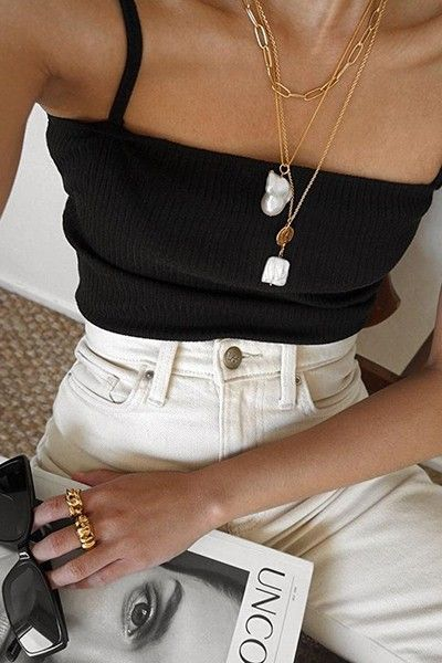 Waist Jeans How to Incorporate 4 Summer Trends into 1 Look — Layered Necklaces, Black Tank. How to Incorporate 4 Summer Trends into 1 Look — Layered Necklaces, Black Tank Top, High-Waisted Jeans, & Sunglasses Look Fashion, 90s Fashion, Fashion Outfits, Womens Fashion, Fashion Trends, Fashion Bloggers, Modest Fashion, Fashion Clothes, Feminine Fashion