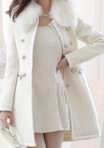 Weiß Taschen Pelzkragen Langarm Wintermantel Wollmantel