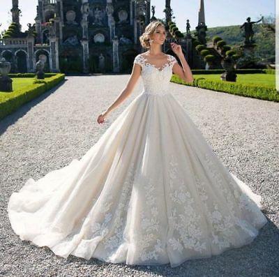 Ebay Ad Satin Lace Up Wedding Dress White Ivory V Neck Bridal Ball Gown Plus Si In 2020 Wedding Dresses Lace Ballgown Princess Bridal Gown Lace Wedding Dress Vintage
