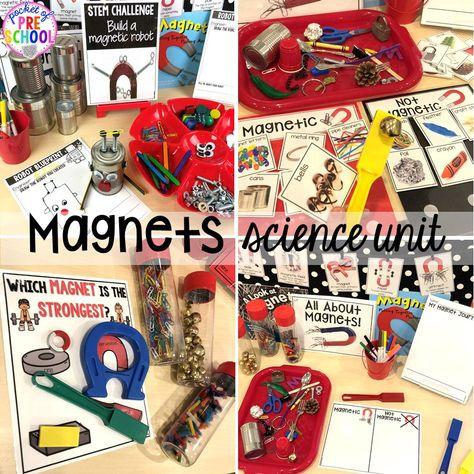 Magnets science unit for preschool, pre-k, and kindergarten #preschoolscience #sciencecenter #prekscience #kindergartenscience