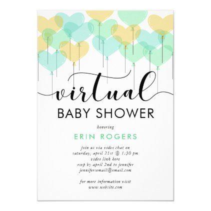 Green Pastel Heart Balloons Virtual Baby Shower Invitation Zazzle Com Virtual Baby Shower Invitation Virtual Baby Shower Virtual Baby Shower Ideas