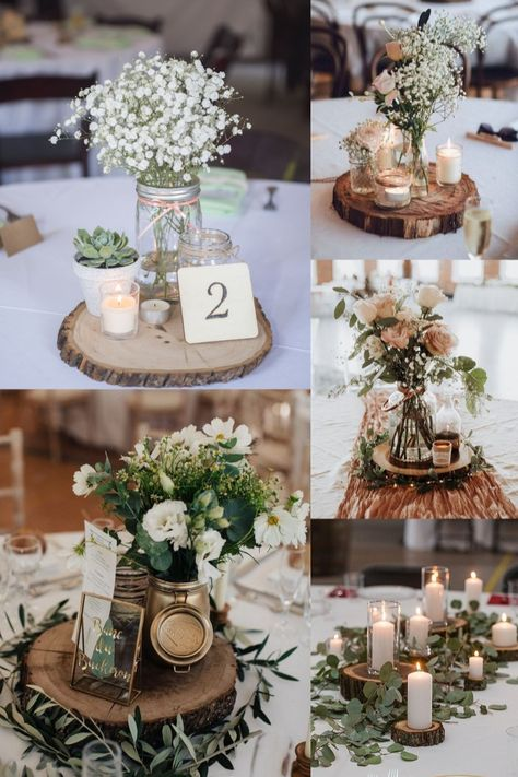 20 Rustic Tree Stump Wedding Centerpieces From your wedding dress to the wedding decorations and everything in between, planning your nuptials is no easy feat (and staying within budget is another Tree Centrepiece Wedding, Simple Wedding Centerpieces, Rustic Wedding Centerpieces, Wedding Table Centerpieces, Wedding Rustic, Centerpiece Ideas, Mason Jar Centerpieces, Diy Wedding Jars, Tree Stump Centerpiece