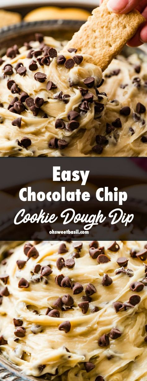 This Easy Chocolate Chip Cookie Dough Dip is creamy and perfect for any party! You simply beat together a few ingredients, throw in chocolate chips and you're good to go!  #chocolate #chocolatechip #cookie #cookiedough #chocolatechipcookie #chocolatechipcookiedough #mini #dip #dessert #recipe #partyfood