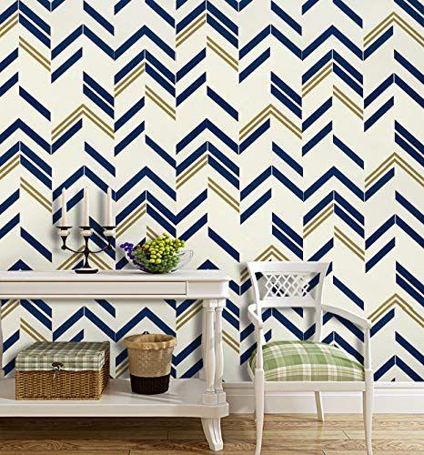 197 X17 7 Blue Chevron Stripe Blue Peel And Stick Wallpa Https Www Amazon Com Dp B07qn92ty5 Wall Design Peel And Stick Wallpaper Self Adhesive Wallpaper