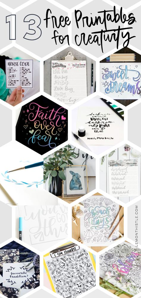 Rounding up 13 beautiful free printables and activities to keep the creativity coming when you're stuck inside. #Printables #FreePrintables #Inspiration