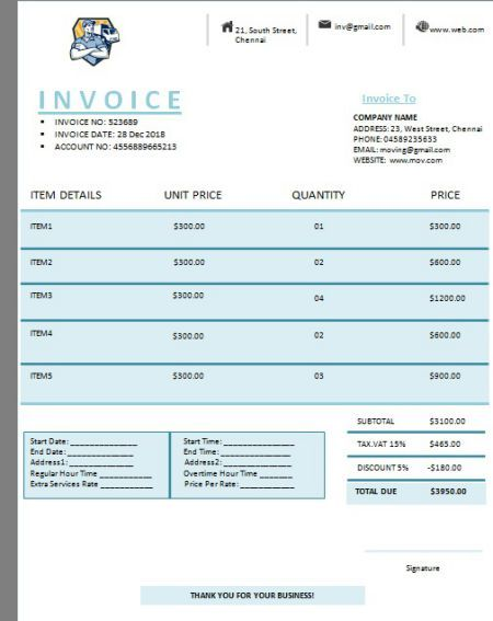 Moving Company Invoice Template Bill Your Clients In An Effective Way 5 Free Invoicing Templates Templa Invoice Template Moving Company Estimate Template