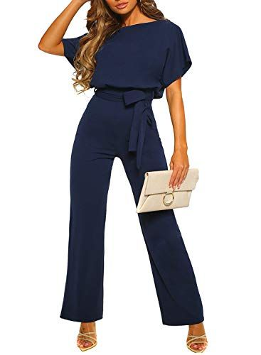 COLOV Womens Summer Elegant Playsuit Wide Leg Jumpsuit Romper with Belted