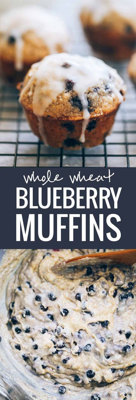 Whole Wheat Blueberry Muffins - With a perfect butter glaze! These muffins are a must for a simple, classic brunch.