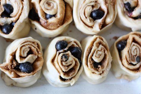Blueberry Cinnamon Buns with Orange Cream Cheese Glaze