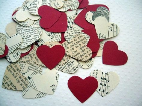 Vintage Pride and Prejudice Wedding Heart Confetti by ddeforest......Flower girl tosses vintage hearts instead of flowers......cheaper too (:
