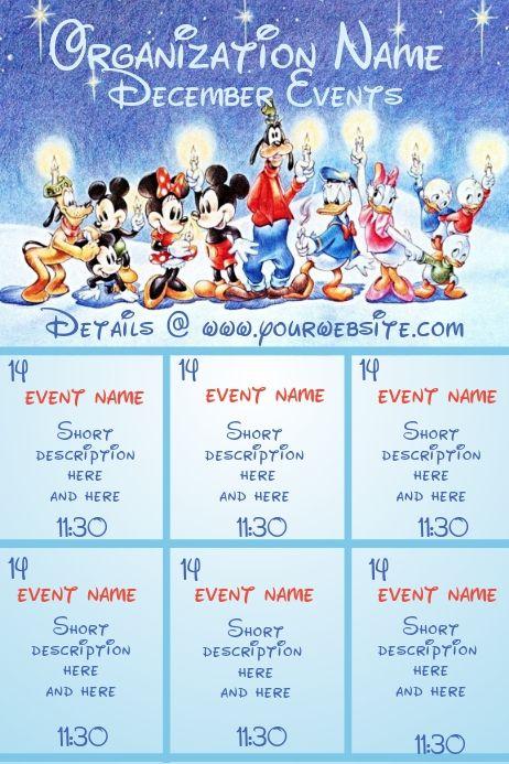 December Calendar Disney Theme Event Calendar Christmas Templates Party Flyer