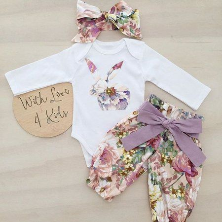 Newborn Infant Kid Baby Girl Floral Clothes Romper Top Pants Headband Outfit Set
