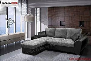 Tommy Corner Sofa Bed Grey And Black Jumbo Cord Fabric Leather With Storage Corner Sofa Bed Corner Sofa Bed With Storage Grey Sofa Bed