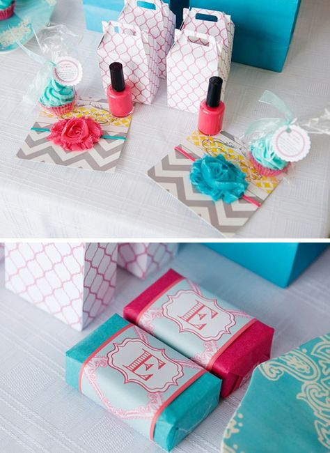 aqua + hot pink spa birthday party