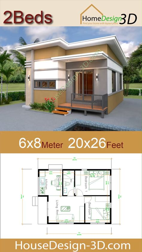House Design 3d 6x8 Meter 20x26 Feet 2 Bedrooms Shed Roof The House has:  -Car Parking and garden -Living room, -Dining room -Kitchen -2 Bedrooms, 1 bathroom -washing room