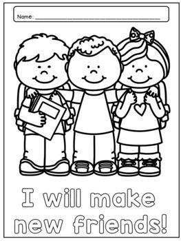 Back To School Kindergarten Coloring Pages Pack Kindergarten