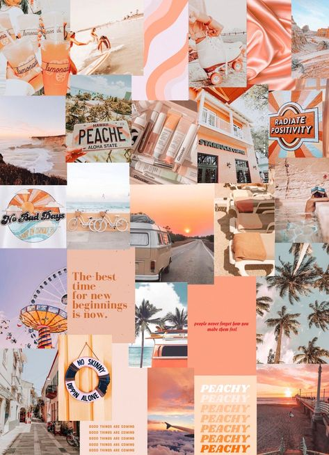 Peach Beach photo art collage pack