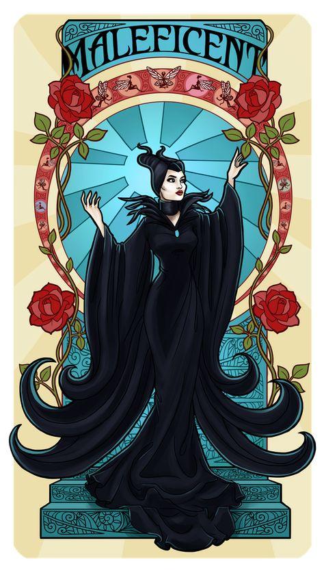 Maleficent Art Nouveau Art Print by paolatosca