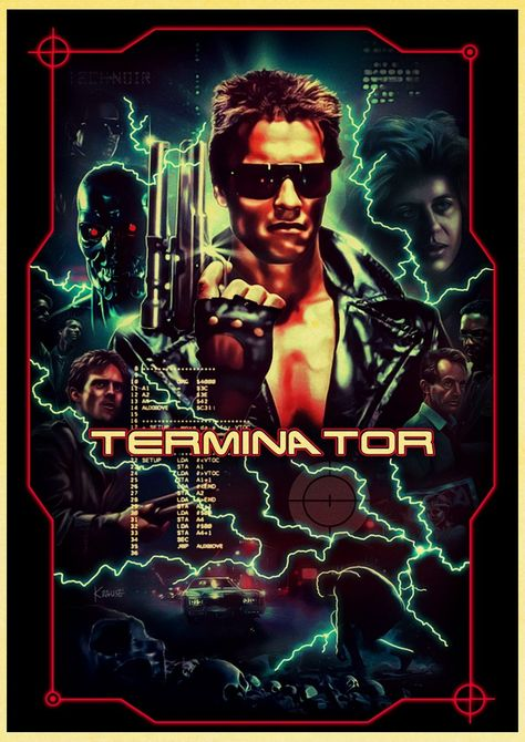 Retro Posters and Prints Classic Movie The Terminator Home Room Wall Decoration Vintage Poster Paintings Printed Wall Decor - 42X30cm-17 / E072 / China