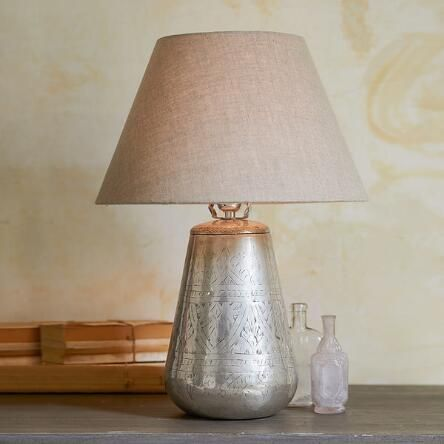 A Lovely Artisan Design Adorns The Elegant Base Of This Hand Etched Silverplated Table Lamp Lamp Table Lamp Decor