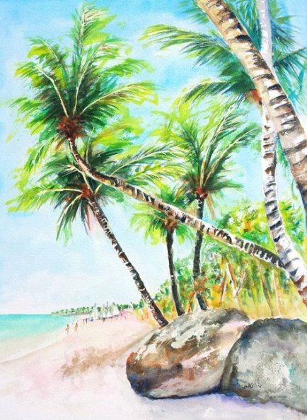 62 Super Ideas Coconut Tree Painting Tropical Painting Tree