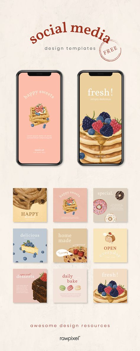 High-quality Pastel Dessert Social Media Promotion Template Collection