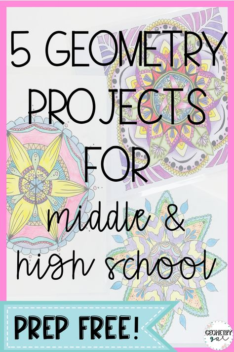 Geometry Projects for middle and high school! 5 different projects with descriptions and student samples. Great for the end of the year! Educacion Geometry Projects for middle and high school! 5 different projects with descriptions and stud Middle School Activities, Math Activities, Geometry Activities, Math Games, Geometry Lessons, Educational Activities, Teaching Geometry, 8th Grade Math, Ninth Grade