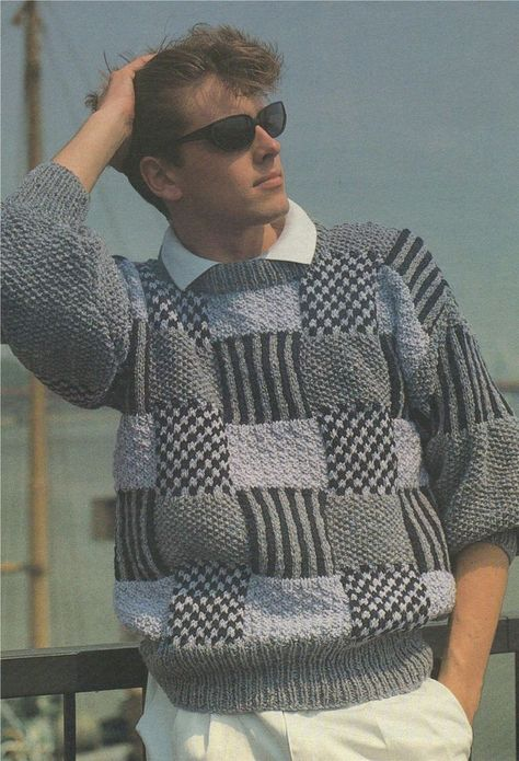 Mens Aran Sweater Knitting Pattern PDF 32 - 34, 36 - 38 and 40 - 42 inch chest, Patterned Squares Ju