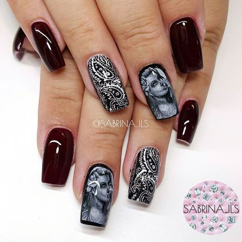 STRAIGHT OUTTA CHOLA.  Btw the rest of the nails arent black,  they are a deep burgundy.  #nails#nailart#instanails#nailswag#sculptednails#sculpturednails#3dnails#youngnails#nailporn#nailpro#swarovskinails#swarovski#vegas_nay#vegasnay#hudabeauty#tmblrfeature#anaheim#sabrinails#sabrina_ils